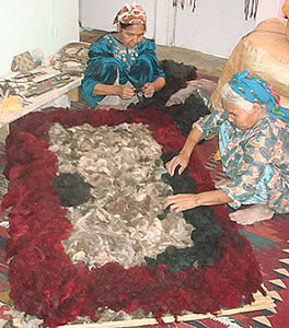 TWARA Artisans Work on Felt Rugs