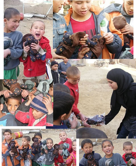 Children in Afghanistan receiving donated Teddy Bears.