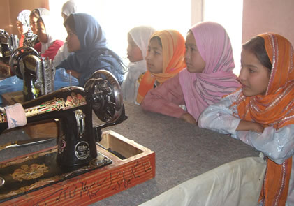 Learning sewing skills in Kabul, Afghanistan.