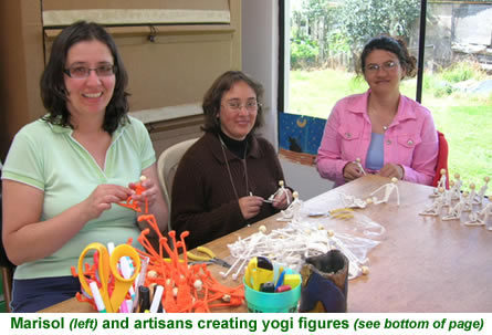 Marisol and artisans creating wire and cotton figures - yogis.
