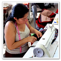 Guatemalan woman sewing.