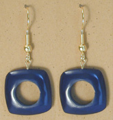 215UL-BL; Blue tagua nut unity loop earring.