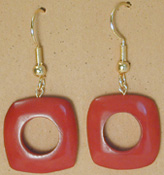 215UL-BU; Burgundy color tagua nut unity loop earring.