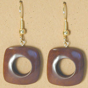 215UL-CO; Coffee color tagua nut unity loop earring.