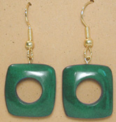 215UL-GR; Green tagua nut unity loop earring.