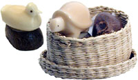 small tagua nut figurines that we call tagua pets.