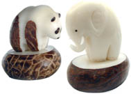 tagua nut panda bear and elephant.