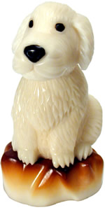 Golden Retriever puppy dog tagua nut figurine.