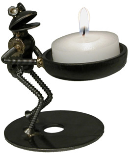 frog tea light candle holder crafted from metal parts.