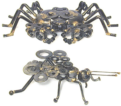 Crab and Fly sculptures - creatures crafted from metal.