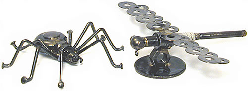 Spider and Dragonfly crafted from metal pieces.