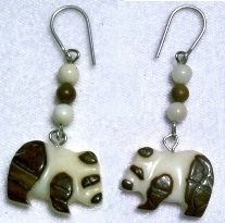 Tagua nut panda earrings.