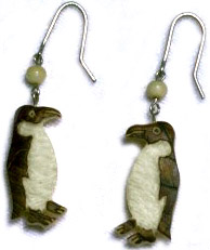 Penguin tagua nut earrings.