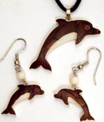 Dolphins are available in tagua nut pin, pendant and earring jewelry sets.