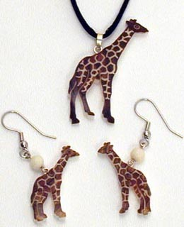 Tagua Nut Giraffe Pendant, Earrings hand carved in Ecuador.