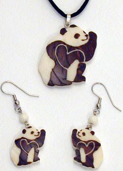 Panda hand carved from sustainably harvested Tagua Nuts.