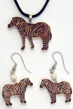 Tagua Nut Zebra Pin, Pendant, Earrings hand carved in Ecuador.