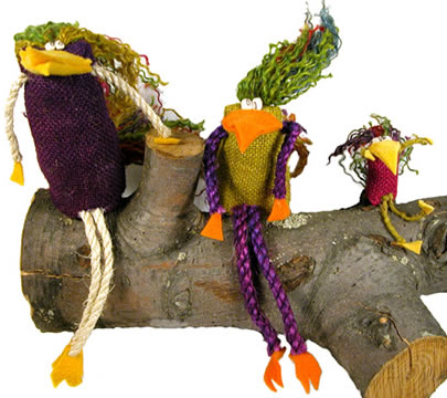 Medium, small and extra small Crazy Birds made with burlap and jute from Bolivia.