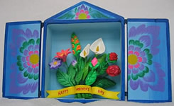 Mother's Day card from Ayacucho Peru in a retablo style.