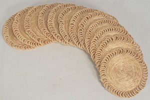 Coffee colored sisal coasters from haiti.