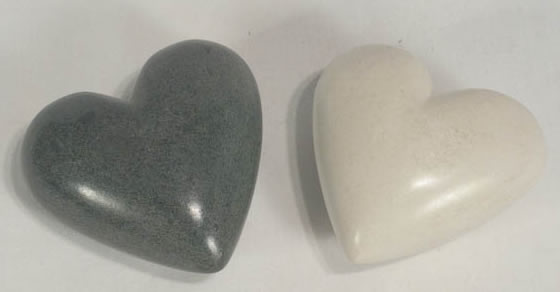 Large Gray or White Soapstone hearts from Haiti.