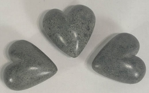 Gray soapstone hearts from haiti.