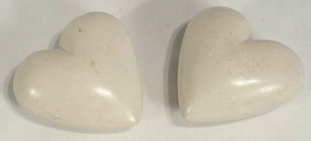 White soapstone hearts from Haiti.