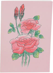Beautiful pink roses greeting card.