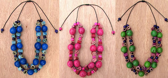 Orange peel, Acai and Bombona seed Necklaces from Colombia.