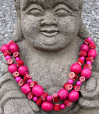 Orange Peel, Acai and Bombona seed Necklace crafted in Colombia.