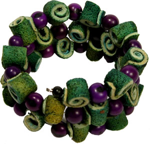 Purple and Green orange peel bracelet from Colombia.