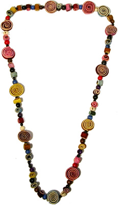 Orange peel rainbow colors necklace from Colombia.