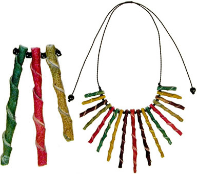 Orange Peel twists decorate this orange peel necklace from Colombia.