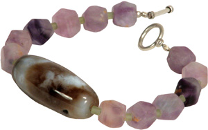 Purple Fluorite Bracelet with Agate Barrel Bead