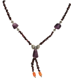 Garnet and Purple Fluorite Necklace, Split Pendant, from Afghan women.