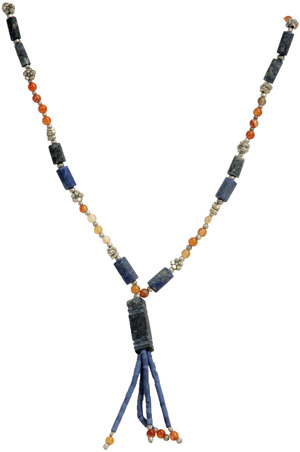 Lapis, Silver, and Agate Necklace w/ Lapis Cube Pendant