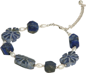 Pearl Bracelet with Lapis flowers from Afghanistan