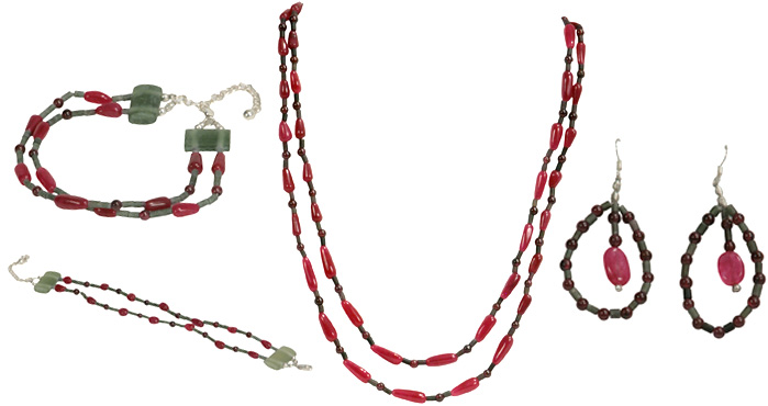 Ruby Teardrop Necklace with Garnet Beads and Bracelet and Earrings