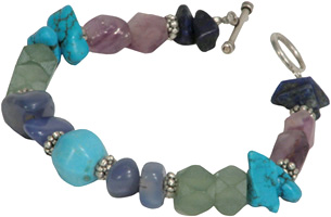 Stacking Turquoise and Fluorite Necklace from Afghanistan.