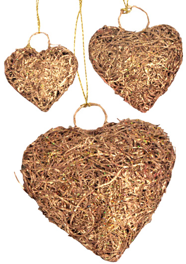 From India, Heart shaped Christmas Ornaments from recycled copper