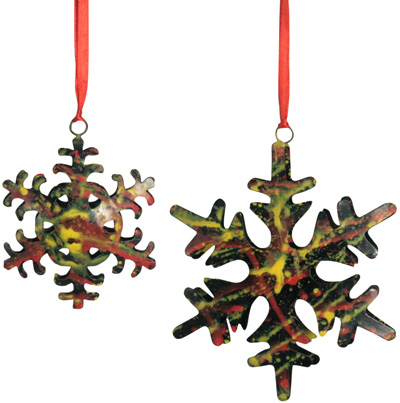 Sponge-Painted Snowflake Ornaments from India