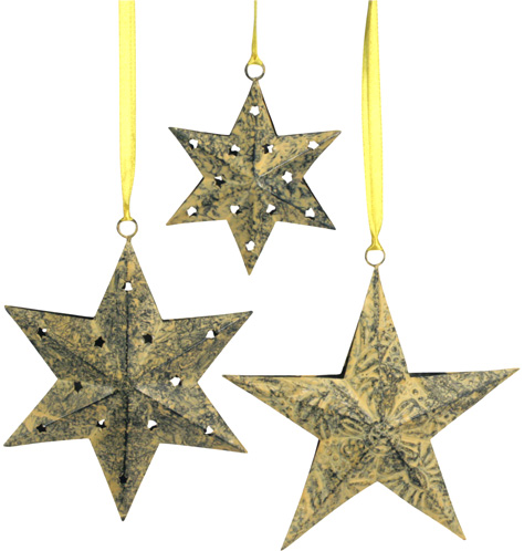 Sponge-Painted Star Ornaments from India