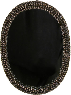 Mirror crafted from metal  chains in India.