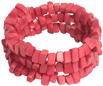 view of fuschia coiled dyed tagua nut bracelet. Fair Trade.