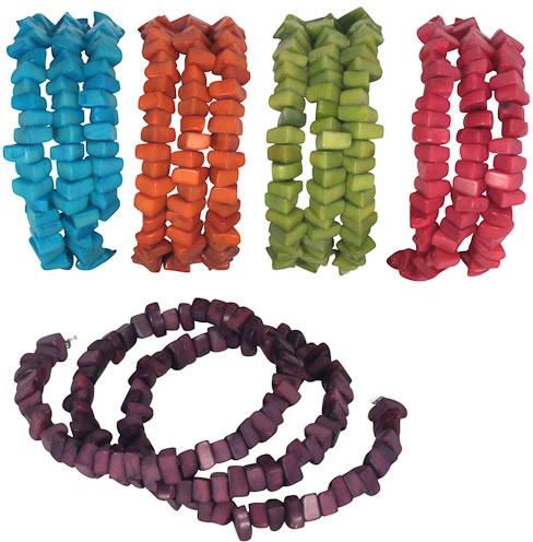 Colorful Coiled Dyed Tagua Nut Bracelets