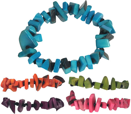 Colorful Single Strand Dyed Tagua Nut Bracelets