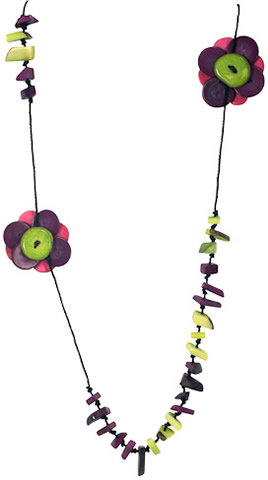 colorful fair trade tagua nut necklace from Colombia.