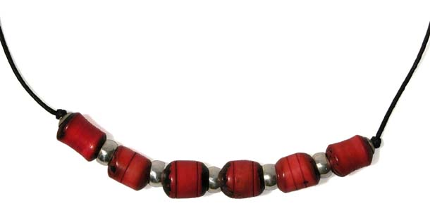 Collar of Turned Red Tagua w/ Sterling Silver