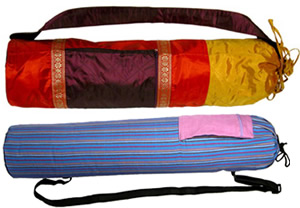 Yoga mat bags from India and Guatemala.