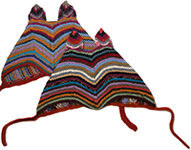 Alpaca baby hats with bunny ears from Bolivia.